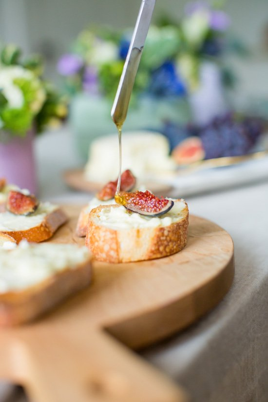 Easy Appetizer // Goat Cheese, Fig and Honey Crostinis