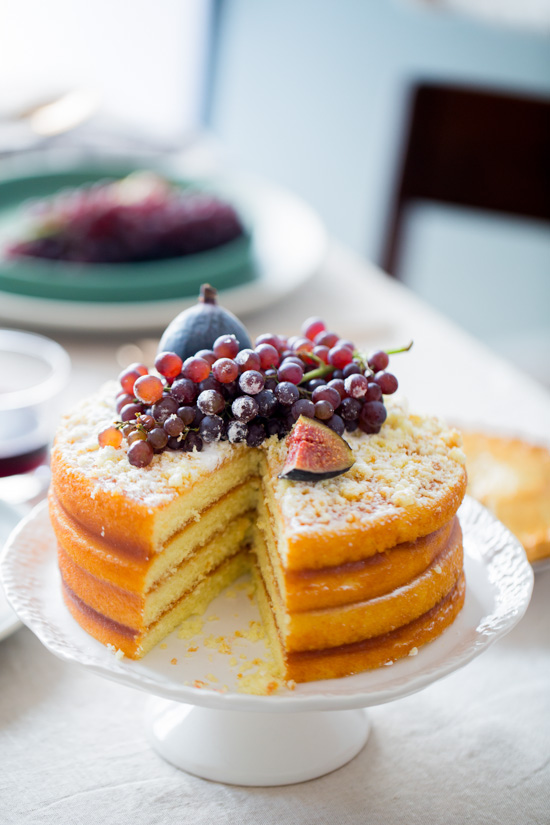 Apple Layer Cake with Fig and Champagne Grape Topper
