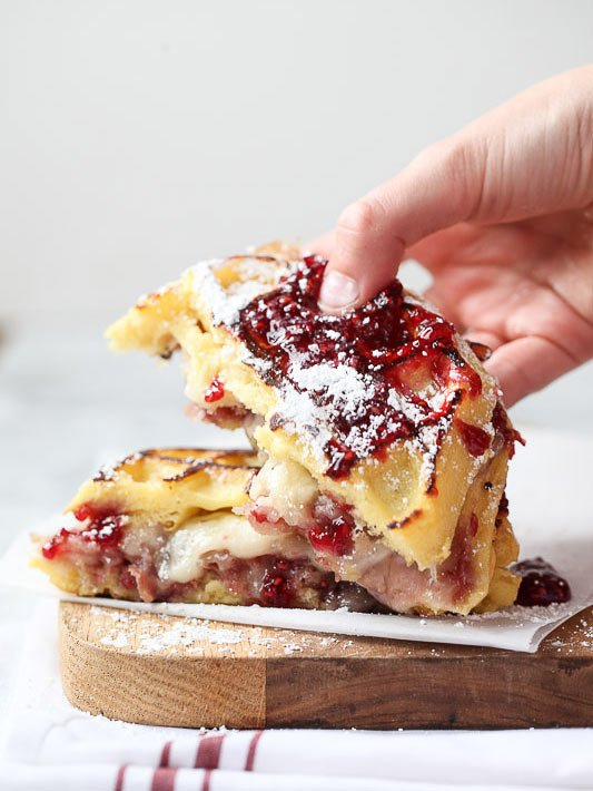 Monte Cristo Waffle Sandwich #wafflerecipe