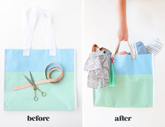 DIY Leather Handle Tote Bag for Under $15