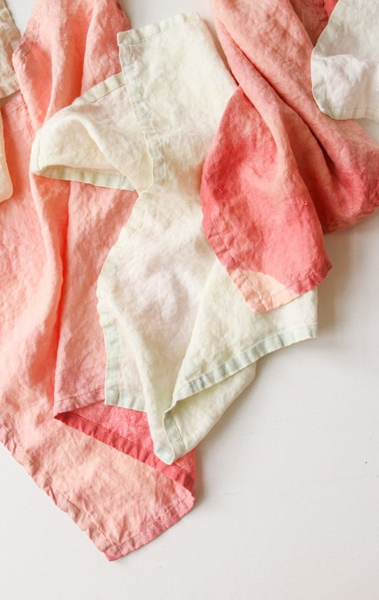 Acid wash linens in pastel colors, from DIY bleached linen technique.