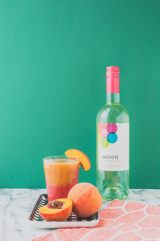 Color Blocked Cocktail: Strawberry Peach Frozen Sangria