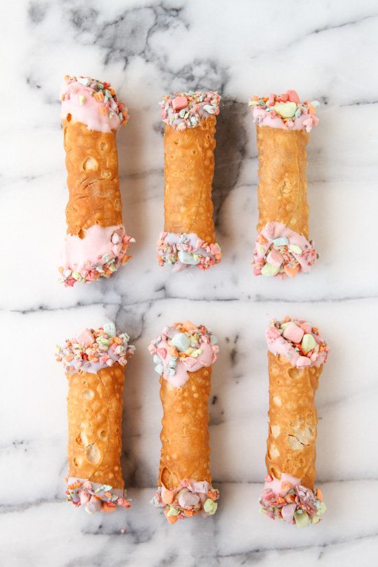 Colorful homemade cannolis. Click through for the simple recipe to make your own.
