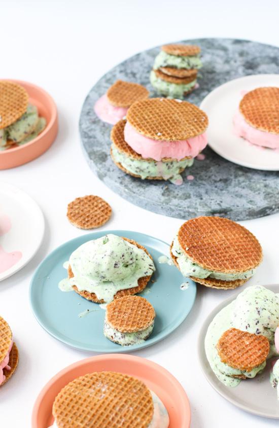 Dutch stroopwafle ice cream sandwiches