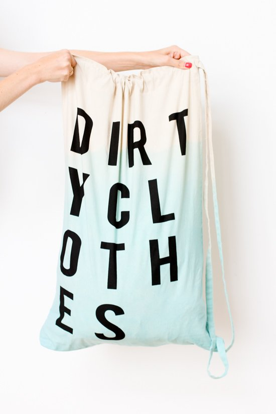 DIY Dip Dyed Laundry Bag