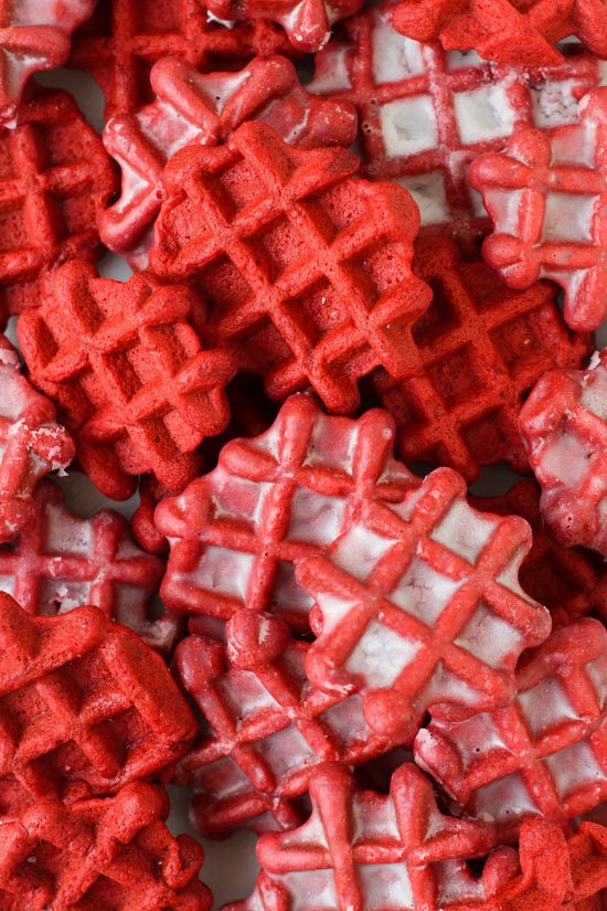 Red Velvet Waffles Dipped in a Donut Glaze