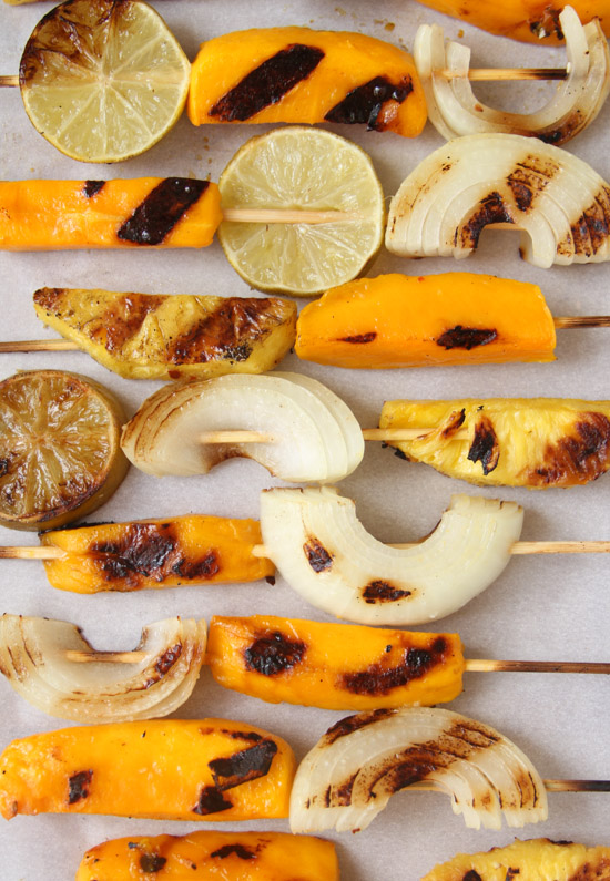 Grilled fruit and veggie kabobs
