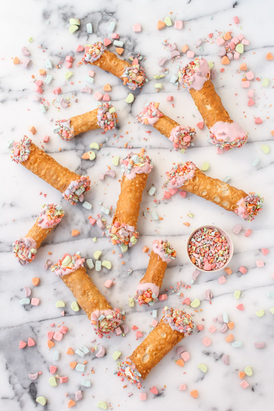 Recipe for Colorful Homemade Cannolis with Lucky Charm Marshmallow Sprinkles