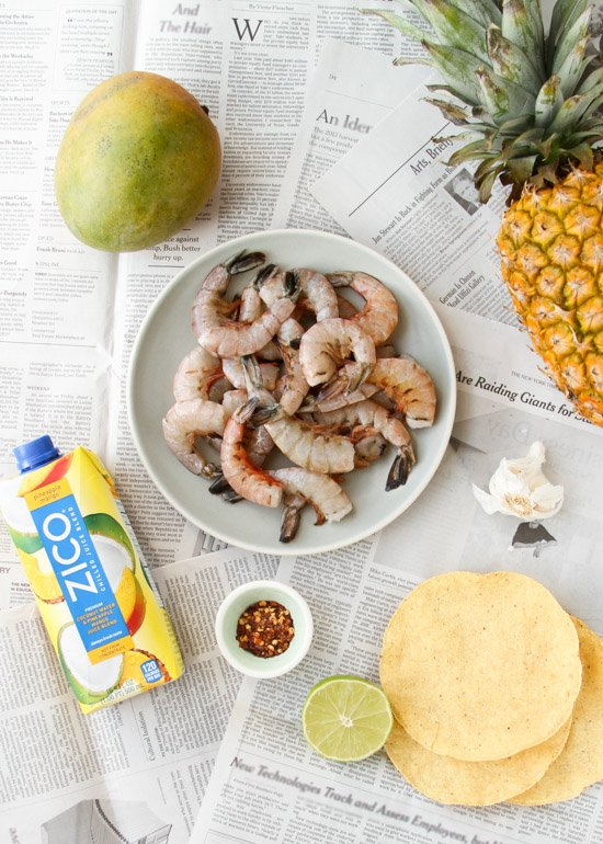 End of Summer Glazed Pineapple Mango Shrimp Kabobs