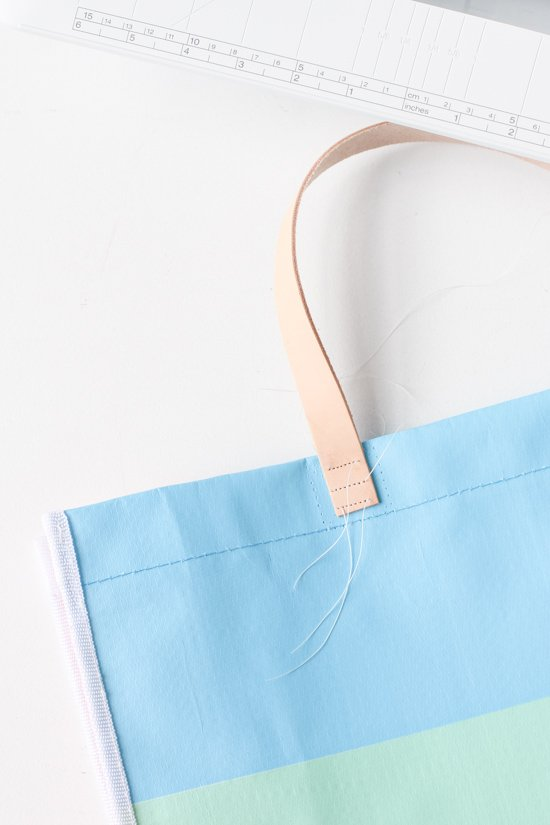 How to sew leather handles onto a tote bag