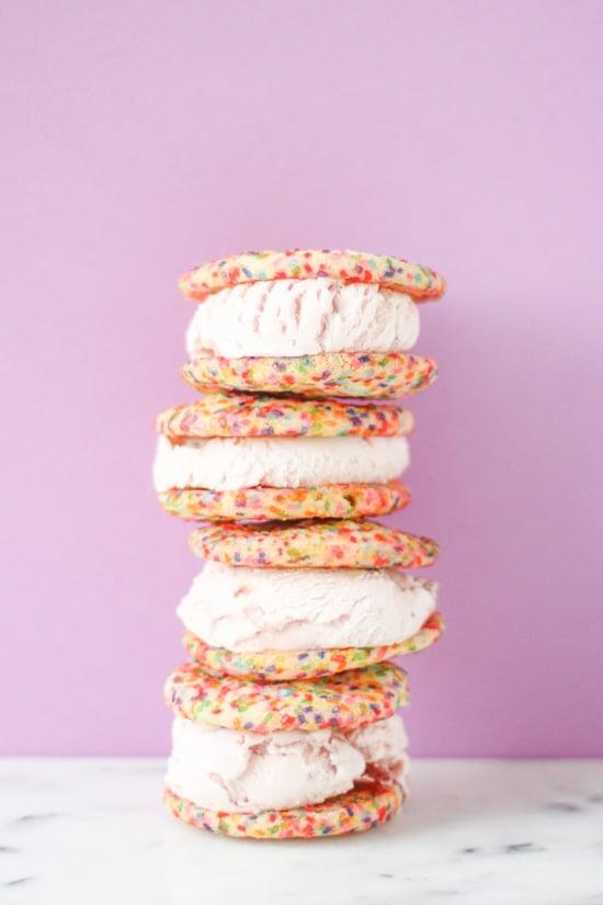 rainbow sugar cookie ice cream sandwiches