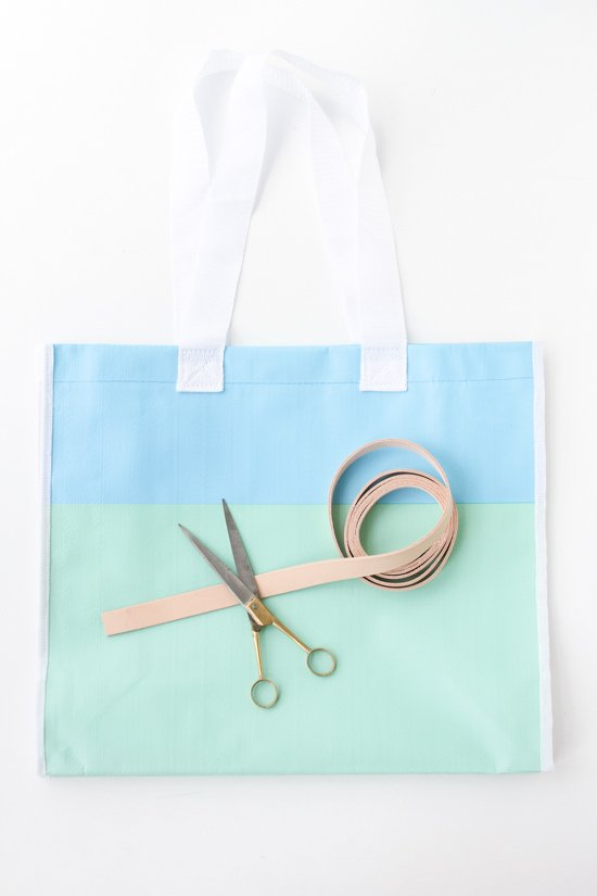 DIY Leather Handle Shopping Tote for Under $15