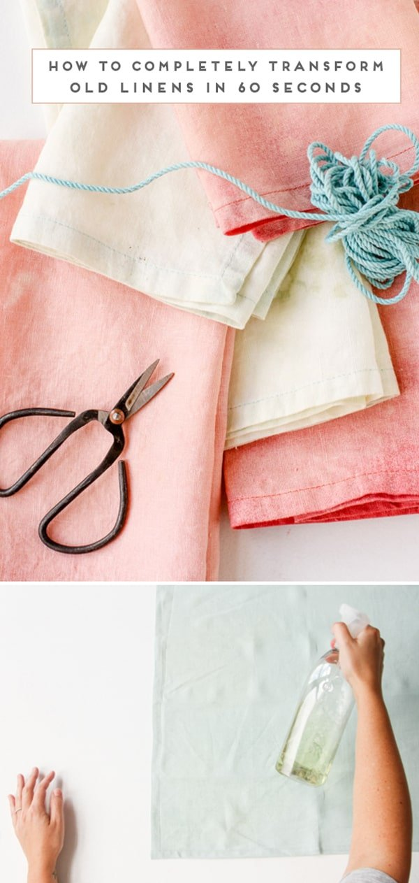 Step photo of bleaching linen and final photo of the finished napkins.