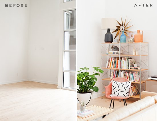 Before and After // Mid Century Living Room Reveal