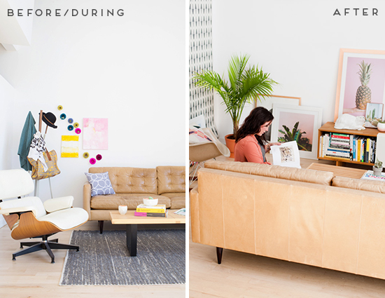 Before and After // Eclectic Modern Living Room Reveal
