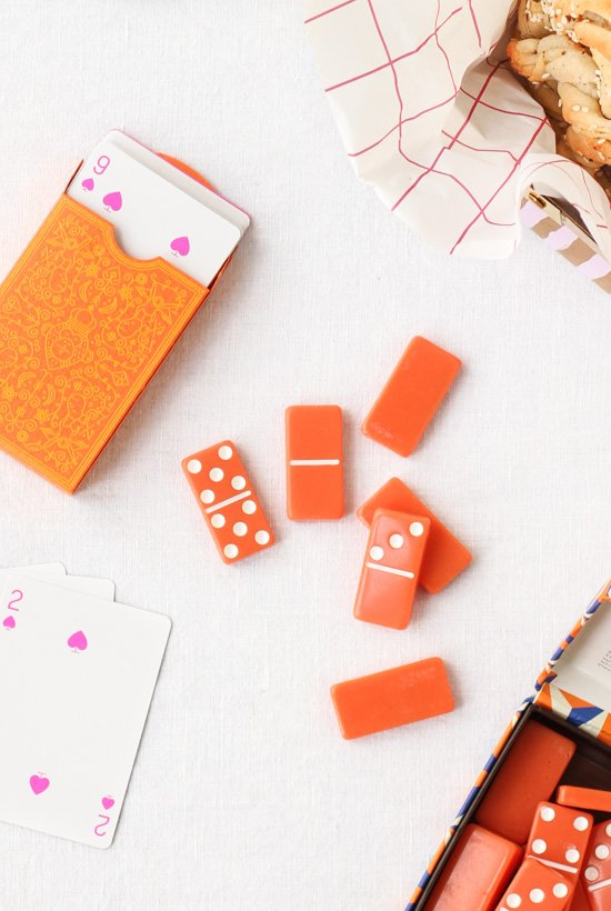 Game Night // neon playing cards and dominoes