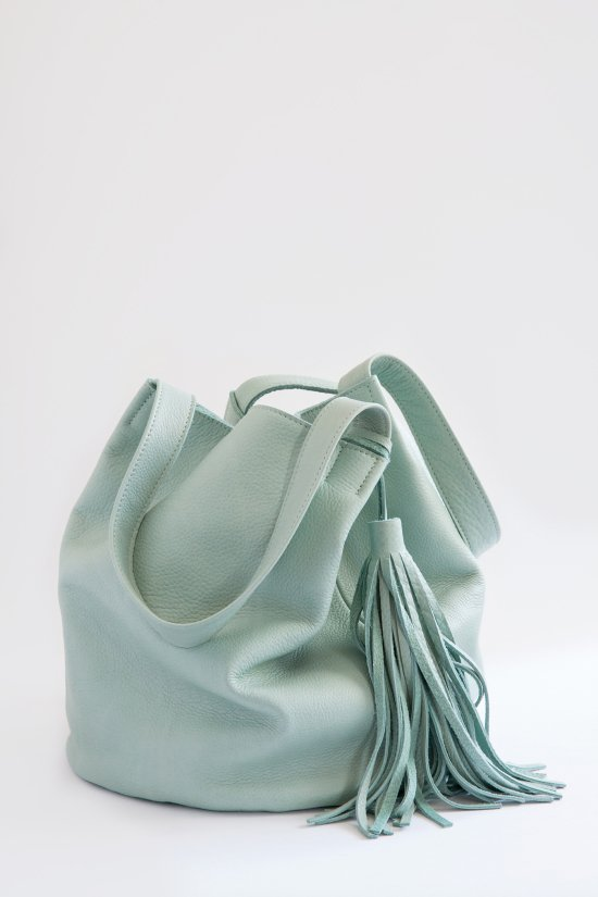 mint leather bucket bag