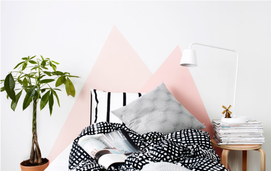 Pink triangle headboard