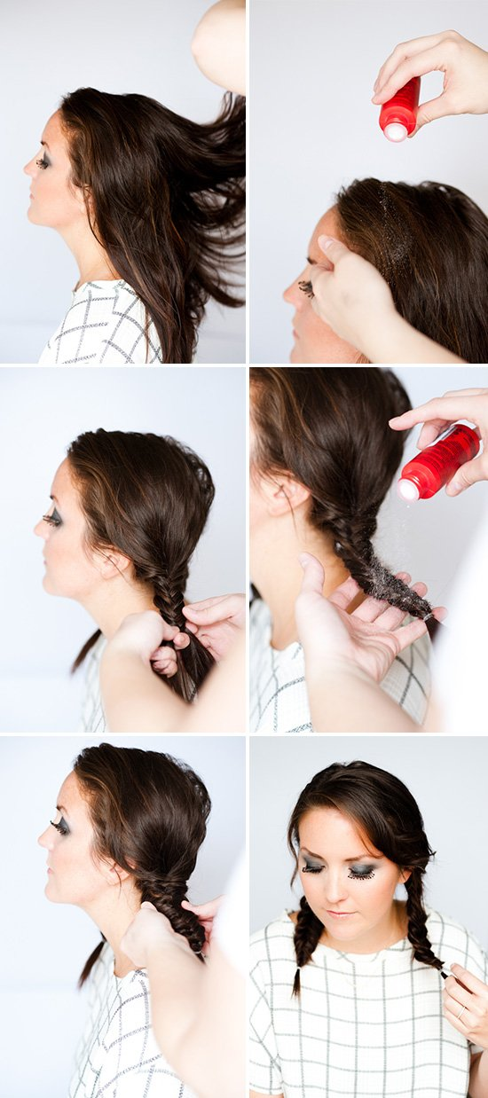 Images to show how to create fishtail braids for a Wednesday Addams costume.
