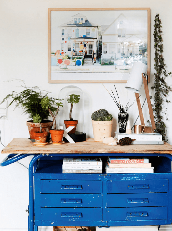 Blue desk drawers