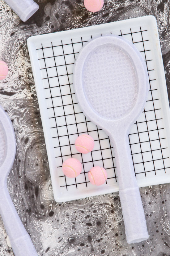 How to mold chocolate into tennis racket shaped candy