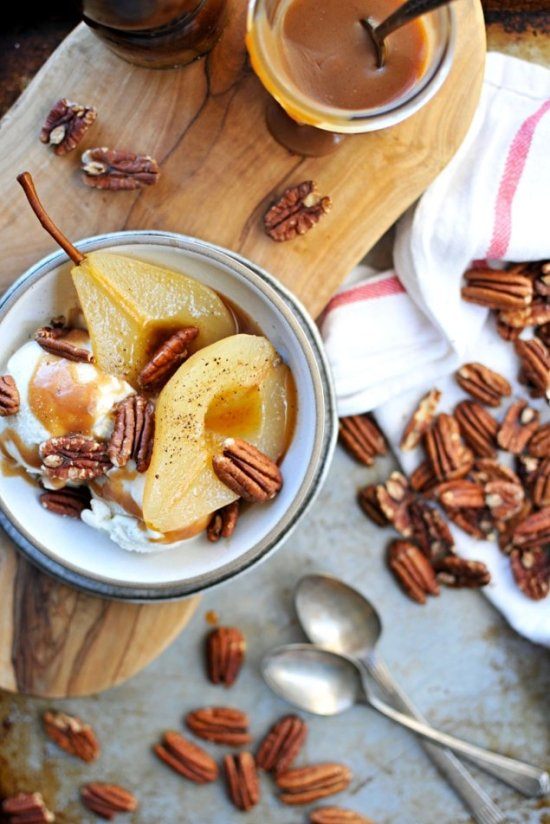 cider poached pears with apple cider caramel and toasted pecans