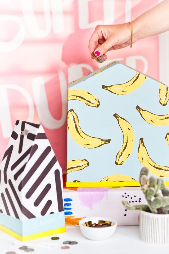 DIY Bananas Coin Bank Made from a Plastic Terrarium