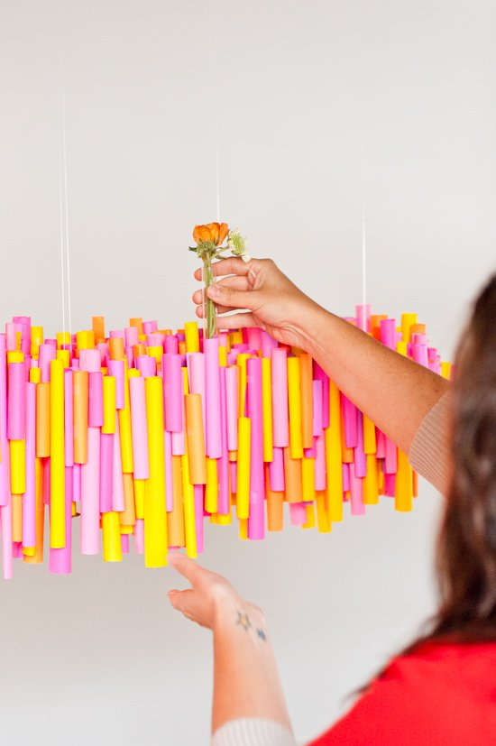5 (Budget-Friendly) DIY Ways to Colorize your Dinner Table - Paper ...:Make this DIY hanging chandelier made of rolled up pieces of paper and  wrapped test tubes,Lighting