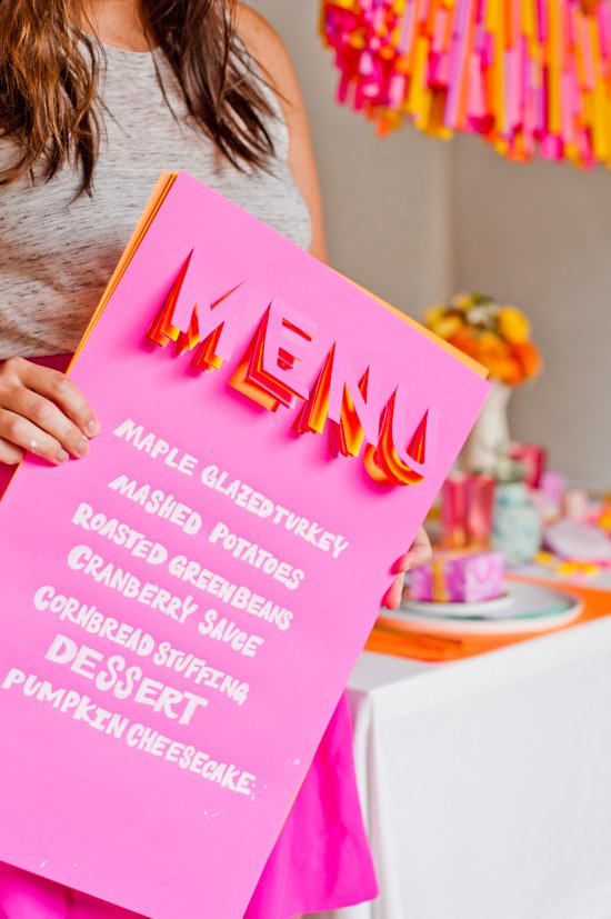 Make this 3D menu for dinner parties and/or Thanksgiving