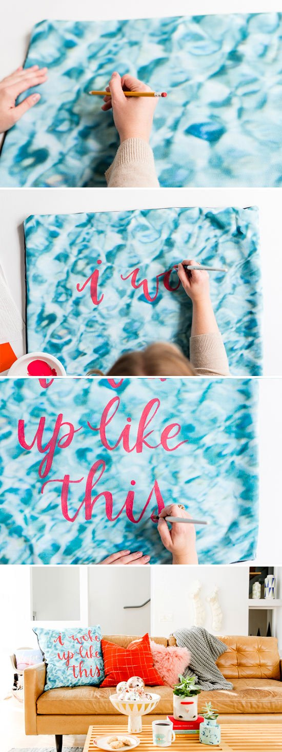 DIY hand lettered pillow project