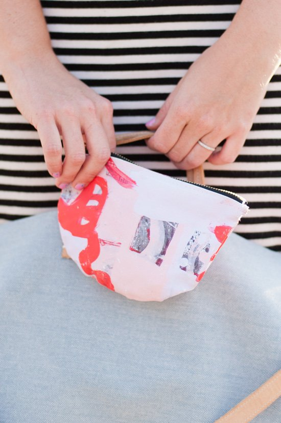 Turn your artwork into a DIY canvas clutch with this easy to follow tutorial