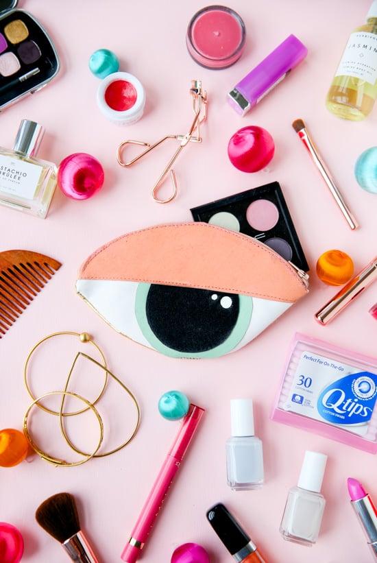 How to sew a DIY eye shaped clutch + makeup bag
