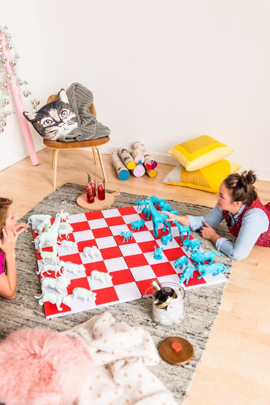 Check Mate How To Entertain For The Holidays With A Giant Diy Chess Set Paper And Stitch