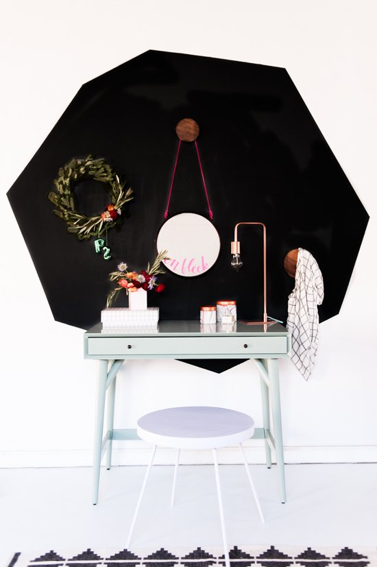 A playful modern take on decorating a vanity for the holidays