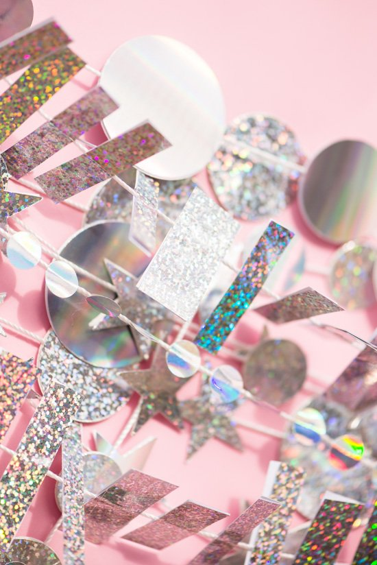 Holographic New Year's Eve Garland DIY and Photo Booth Backdrop