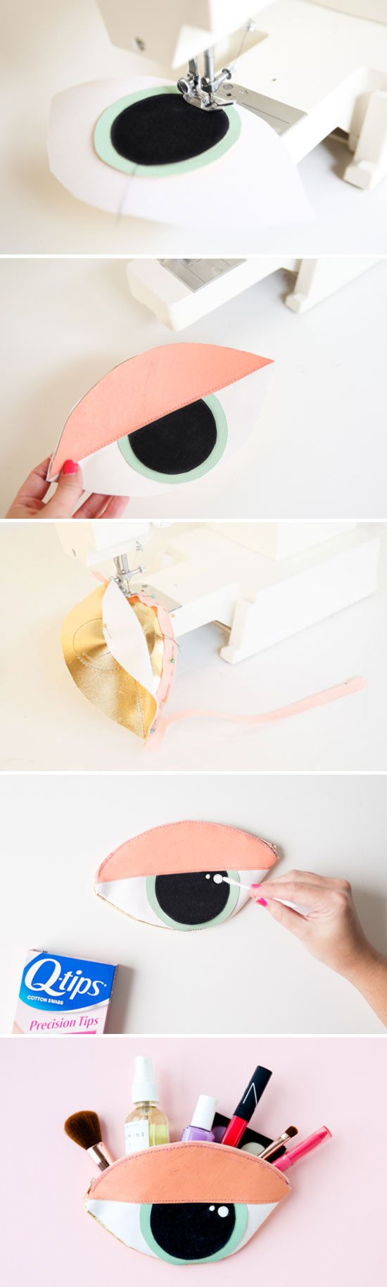 How to sew a DIY eye shaped clutch + makeup bag