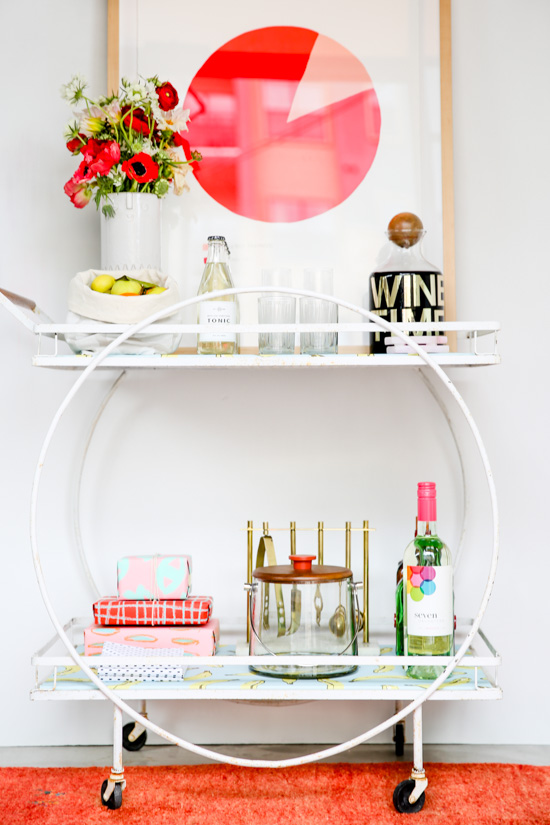 A mid-century bar cart makeover + styling a bar cart for the holidays