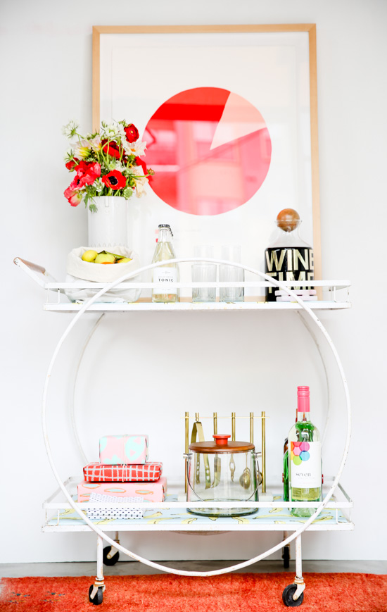 Styling a bar cart for the holidays + DIY mid-century bar cart makeover