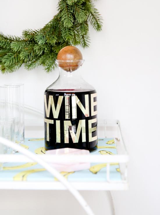 DIY // Gold Foil Wine Time Decanter