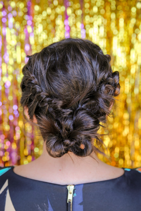 Tousled Knot Crown Hair Tutorial for New Year's Eve