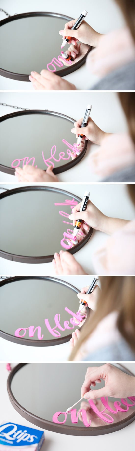 DIY Idea // how to create a hand lettered DIY 'ON FLEEK' vanity mirror