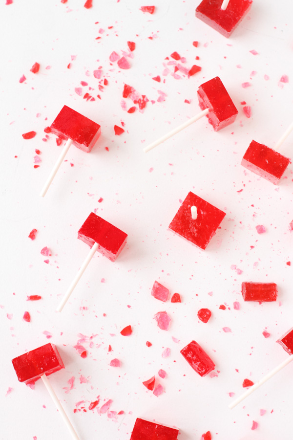 How to make easy square shaped lollipops for Valentine's Day