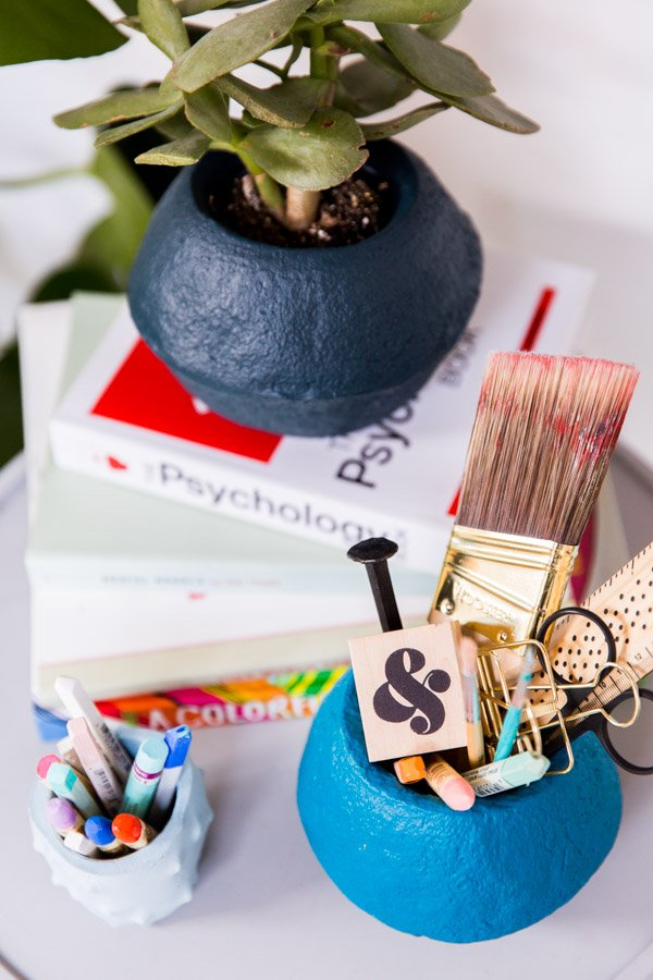 15 Minute DIY Idea // Faux Stoneware Office Organization Using an Unlikely Material