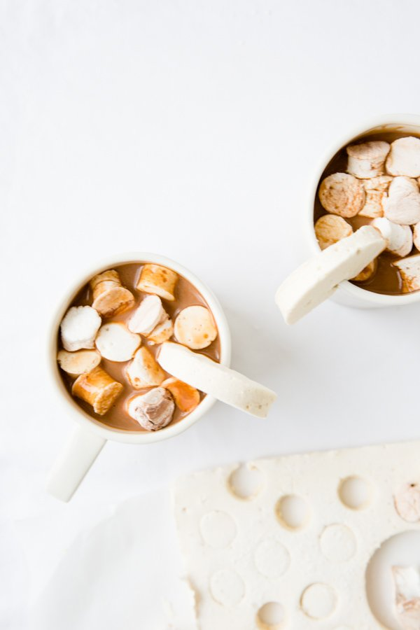 Nutella marshmallows in winter hot chocolates.