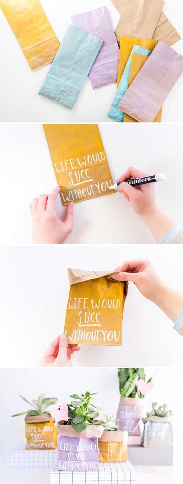 DIY Planted Paper Bag Valentines in 5 Minutes