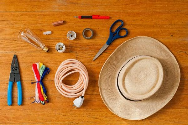 Supplies fro DIY hat pendant light