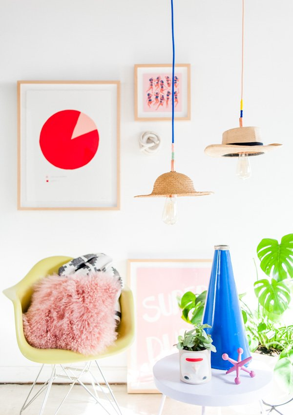 DIY Lighting Idea // how to make a unique DIY pendant light with a hat