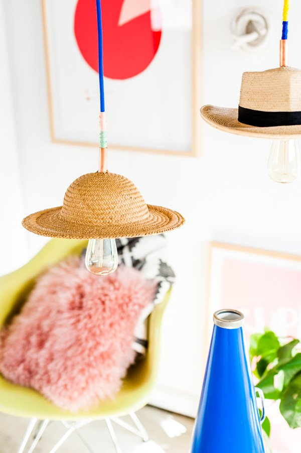 Unique DIY pendant lights with vintage hats