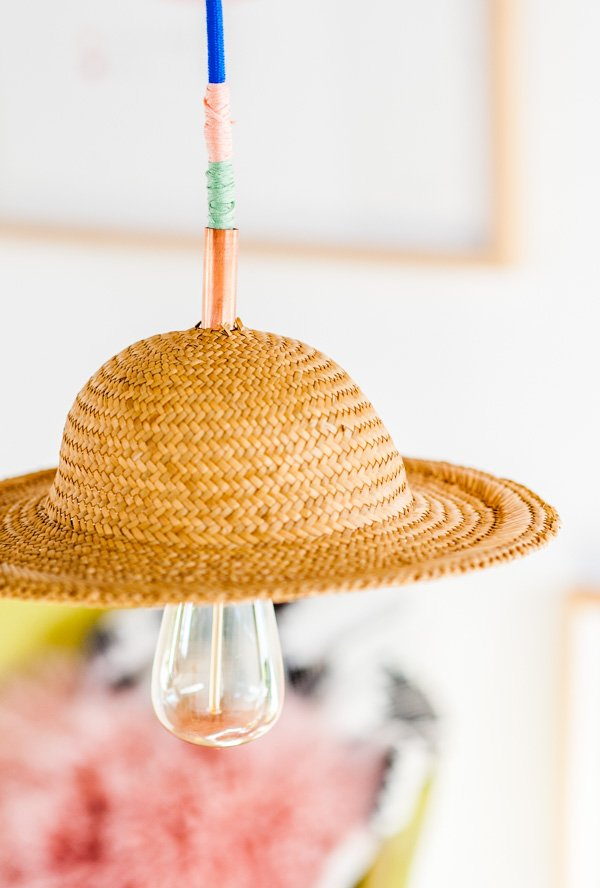 DIY Pendant Light with a Vintage Hat