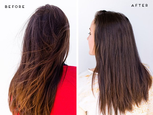 Before and After Hair Side by Side